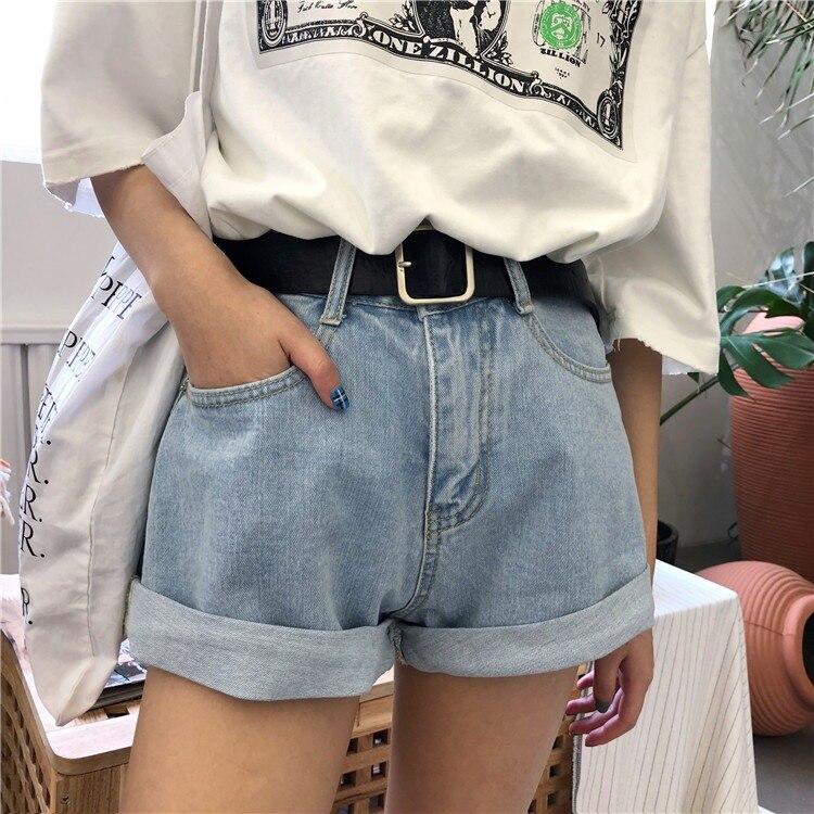 2018 Summer Women Shorts Streetwear High Waist Cuffs Loose Wide Leg Denim Short with Belt