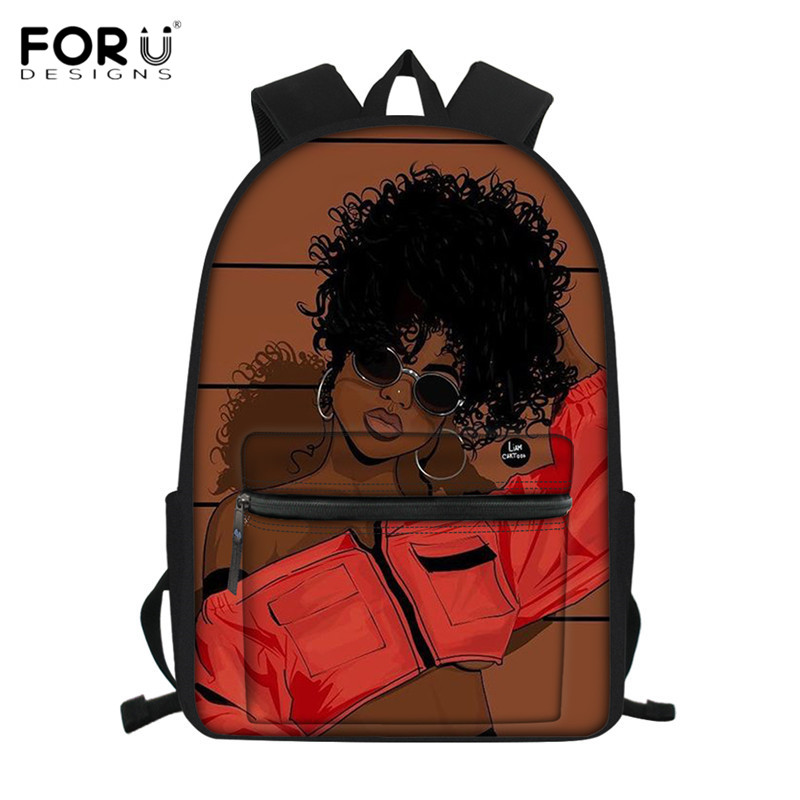 FORUDESIGNS Canvas Children School Bags Afro Girl Printing School Backpacks Brown Beauty Princess Schoolbags Bookbags For Junior