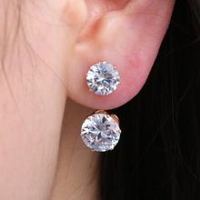 Simple Earrings for Women Double Clear Round Crystal Stud Elegant Girl Jewelry Gift Spring Autumn Summer Winter(China)