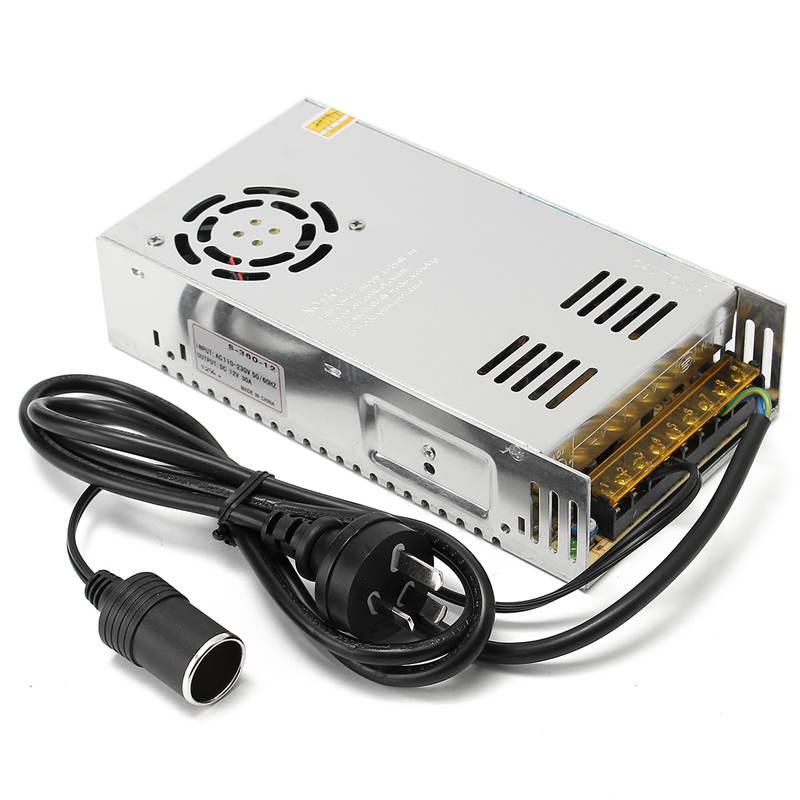 AC 85-264V To DC 12V 30A 360W Power Supply Transformer Adapter Converter AU Plug Cable With Car Cigarette Lighter Socket 120w power converter ac 220v 100 250v input dc 24 v 5a output adapter car power supply cigarette lighter plug