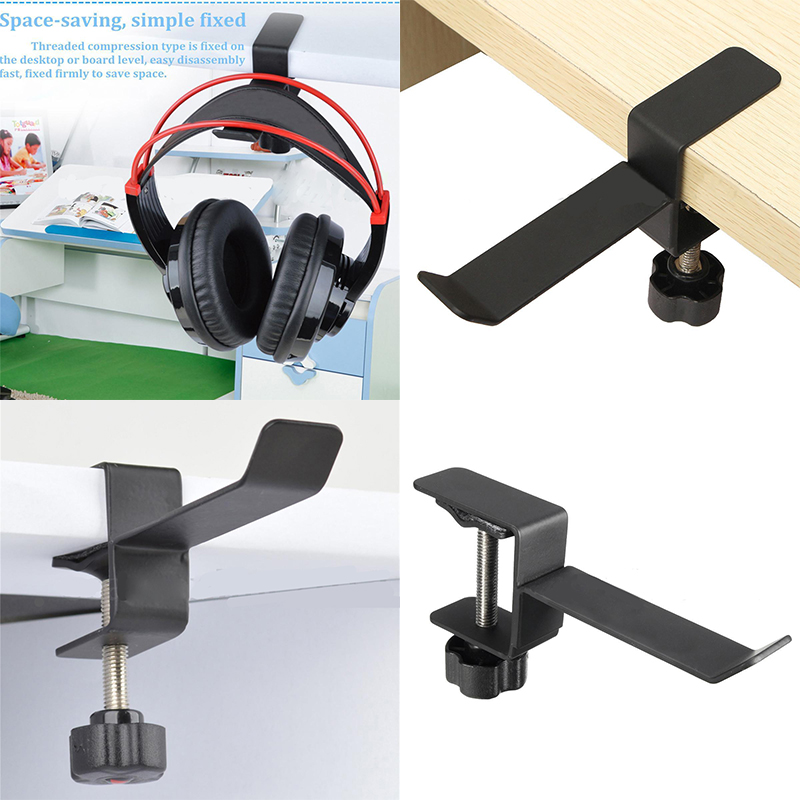Mayitr Hot Useful Classic Headphone Holder Steel Headset Earphone Black Holder Hanger Stand Table Clamp Clip Bracket With ScrewMayitr Hot Useful Classic Headphone Holder Steel Headset Earphone Black Holder Hanger Stand Table Clamp Clip Bracket With Screw