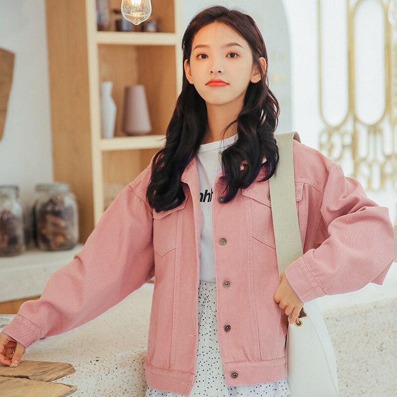 Women Denim Jackets 2018 Fall Oversize Pink Casual Female Jacket Coat Chic Jacket for Girls