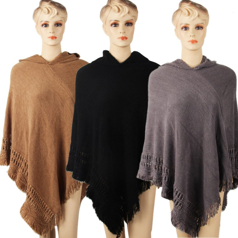 Autumn Fashion Women Casual Knit Batwing Top Poncho With Hood Cape Coat Tassel Sweater Outwear