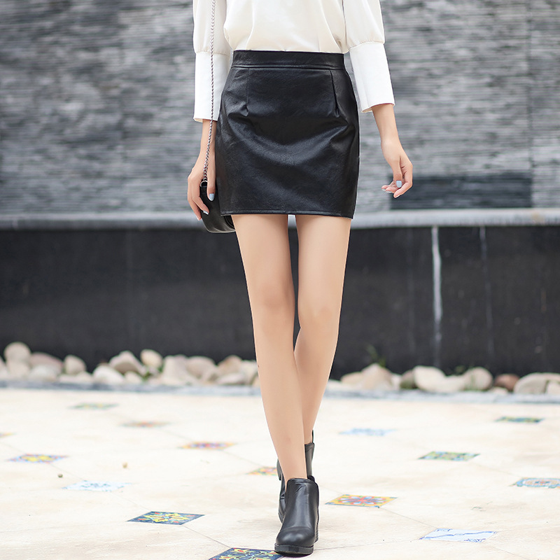 669e5d8c8c PU Leather Skirts Women Faux Leather High Waist Slim Party Pencil Skirt  Offical Lady Black Short