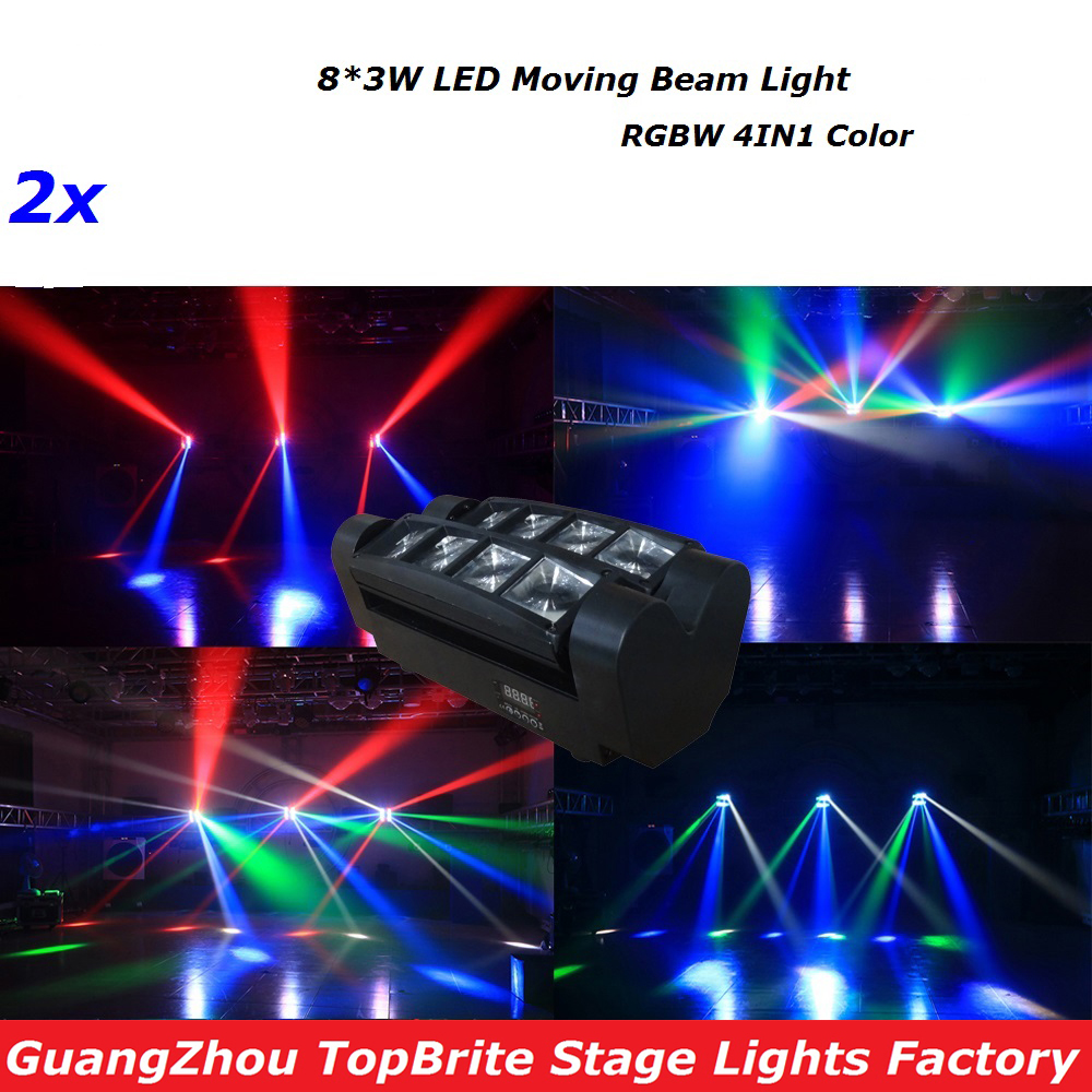 2XLot Led Spider Beam Light Haute Qualité 8 * 3W RGBW Unique Couleur Mobile Tête Faisceau Lumières With7 / 13 Canaux DMX Pour Projecteur Dj