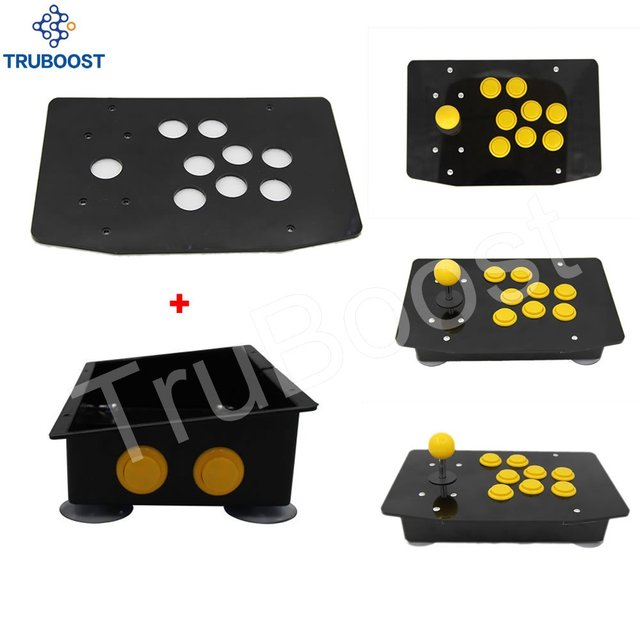 DIY Handle Arcade Set Kits Replacement Part Arcade joystick Acrylic Panel and Inclined Plane Cases w/ 2 Buttons