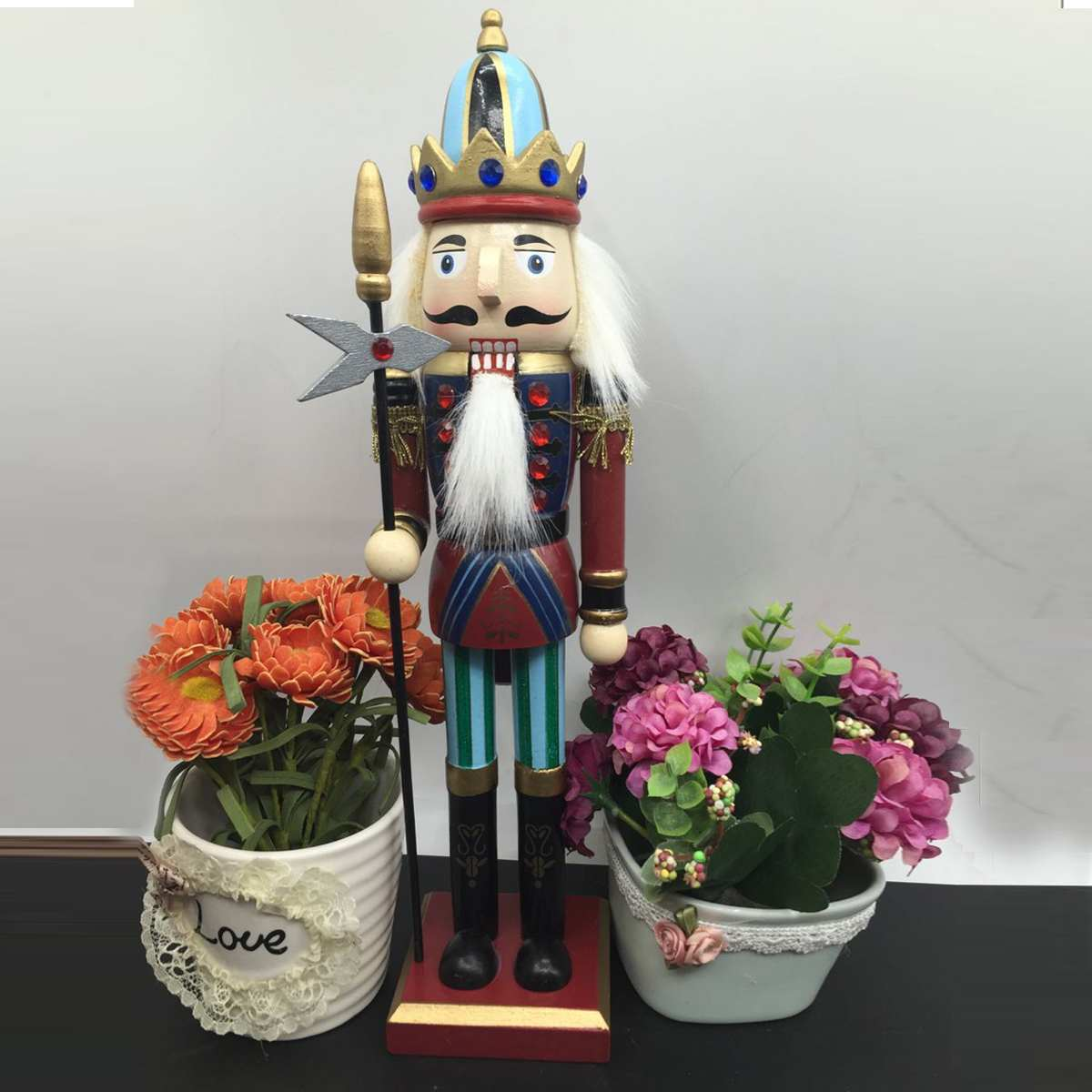 4X Wooden Nutcracker Soldier Vintage Style Handcraft Puppet Doll Decor Xmas Gift