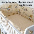 Desconto! 6 / 7 PCS berço pára choques 5 PCS fundamento do bebê berço jogo de cama 100% algodão conjuntos de cama bebê recém-nascido, 120 * 60 / 120 * 70 cm