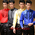 male yellow gold black sequin shirt groom fashion costume for singer dancer star nightclub performance show prom evening party