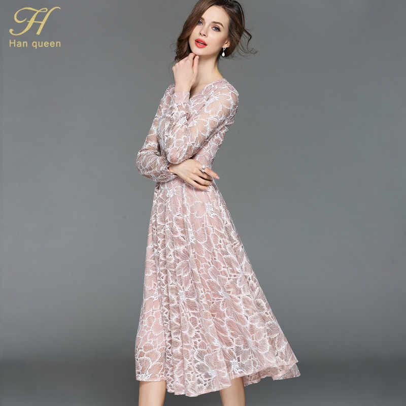 d467cddb1fd65 H Han Queen 2018 Summer Lace Dress Work Casual Slim Work Women Party  Dresses V-neck Sexy Hollow Out A-line Vintage Vestidos