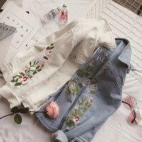 Spring Summer Vintage Flowers Embroidery Women Loose Denim Jacket Long Sleeve Temperament Short Coat Women