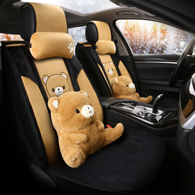 cartoon cute dog husky bear piggy universal car seat cover fur heated seats auto covers for cars heating accessories cushion set 1