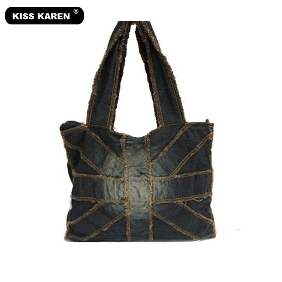 a3cc28572b KISS KAREN Fashion Denim Bag Women Handbags Vintage Studs Women s Shoulder  Bags Women Tote ...