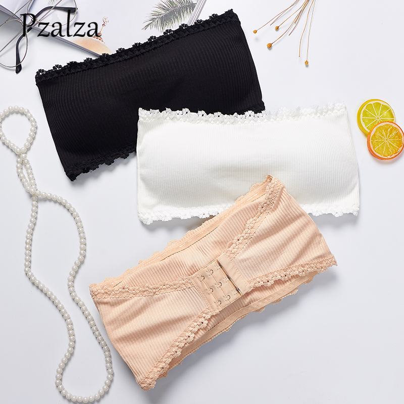 Elastic Cotton Women Tube Top Bra High Quality Strapless Top Bandeau Removable Chest Padded Tube Bra Top Female For Small Chest