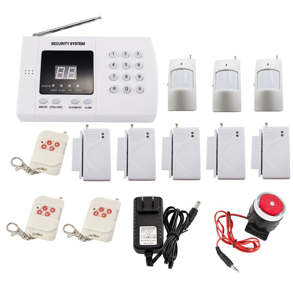 Free Shipping Wireless PIR Home Security Burglar Alarm System Auto Dialing Dialer 99 Zones zones wireless pir home security burglar alarm system auto dialer with wireless door sensors detector new high quality