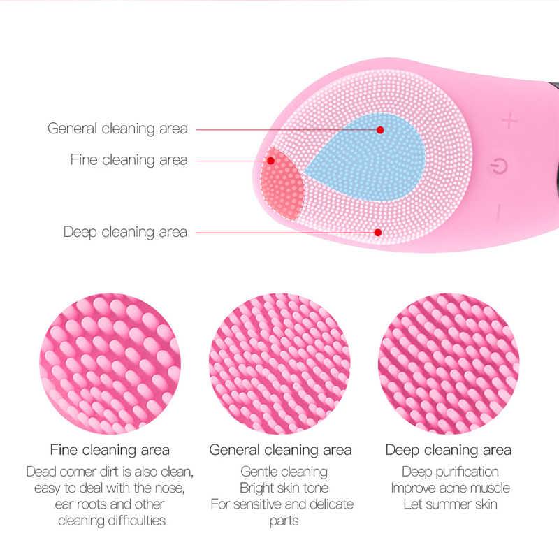 szczoteczka soniczna do twarzy  Elektryczny twarzy szczotka do czyszczenia silikonowy masażer do twarzy szczotka do czyszczenia urządzenie do oczyszczania twarzy środek oczyszczający do twarzy szczotka