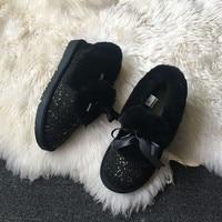GRWG Shoes Women China Brand 2018 Real Sheepskin Women's Boots Genuine Sheepskin Woman Snow Boots Warm Wool Boots Size 34 40