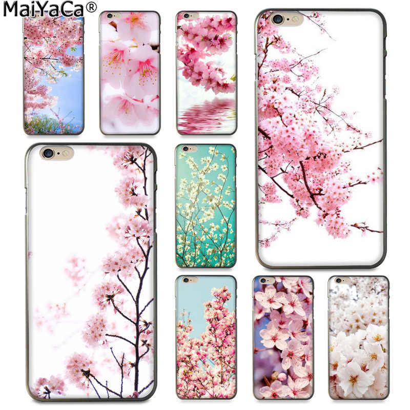 MaiYaCa sakura flor Japón flores de cerezo divertida funda de teléfono colorida para Apple iPhone 8 7 6 6S Plus X 5 5S laminación XR XS.