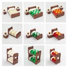 DIY Building Blocks Decoration Furniture Double Bed Single Bed Bunk MOC Bricks Bedroom City Accessories Toys for Children C035