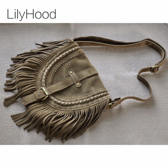 c78b43fbe4 LilyHood 2017 Women Fringe Shoulder Bag Genuine Leather Fringe Tassel Boho  Hippie Gypsy Bohemian Ibiza Feminine Crossbody Bag