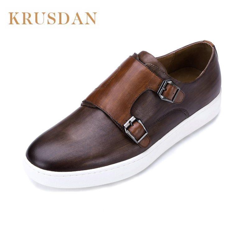 Men shoes casual luxury brand genuine leather Double buckle slip on Loafers moccasins Leather Casual Shoes