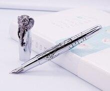 Fuliwen Vulpen Olifant Hoofd op Cap, Delicate Zilveren Handtekening Pen, Medium Nib Business Office Home Schoolbenodigdheden