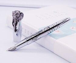 Fuliwen pióro wieczne z głową słonia na czapce  delikatny srebrny długopis signature  średnią stalówką Business Office Home School Supplies w Pióra wieczne od Artykuły biurowe i szkolne na