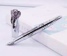 Fuliwen עט נובע פיל ראש על כובע, עדין כסף חתימת עט, בינוני ציפורן עסקים משרד בית ספר