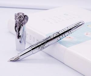 Image 1 - Fuliwen עט נובע פיל ראש על כובע, עדין כסף חתימת עט, בינוני ציפורן עסקים משרד בית ספר