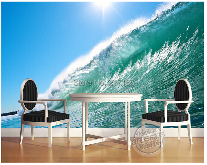 Custom photo wall paper, 3 d waves used in the sitting room the bedroom TV setting wall vinyl which papel DE parede egli haemophiliac in the eighties paper only