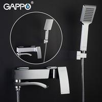 Gappo Chrome Brass Shower Faucet Bath Mixer Water Tap Waterfall with Hand Shower Head Set Wall Bathroom Rain Shower Set griferia