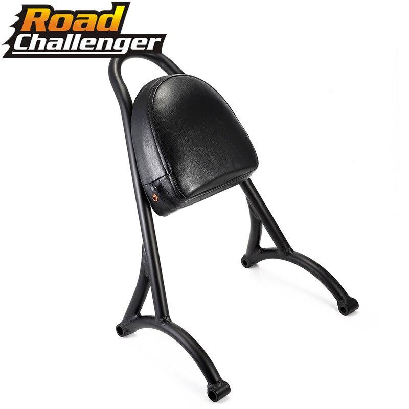 Motorcycle Short Passenger Sissy Bar Backrest W/Pad Black For Harley Sportster XL 883 1200 04-16