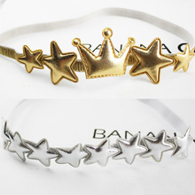1PCS  New Arrival Glittering Crown Stars Girls Elastic Hair Band Hair Accessories Princess Tiara Headbands Children Headwear