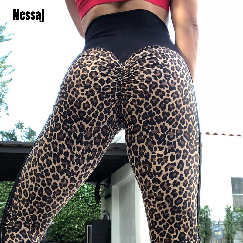 Nessaj Leopard Print Printing Slim Pants Women Fitness Leggings High Waist Hips Push Up Leggings Sports Casual Mujer Leggings