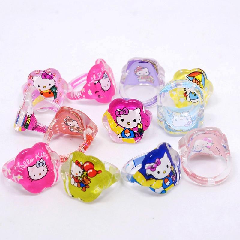 hot sale 20pcs/lot lovely cartoon animal Cat Child Kids girl ring Hello Kitty KT Rings for flower heart round shape jewelry Gift gold earrings for women