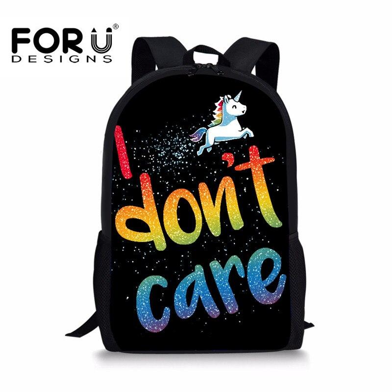 FORUDESIGNS Unicorn Printing Backpack for Girls Boys to School,Cartoon Kids Backpacks,Cute Children Bagpack Back Bags mochila