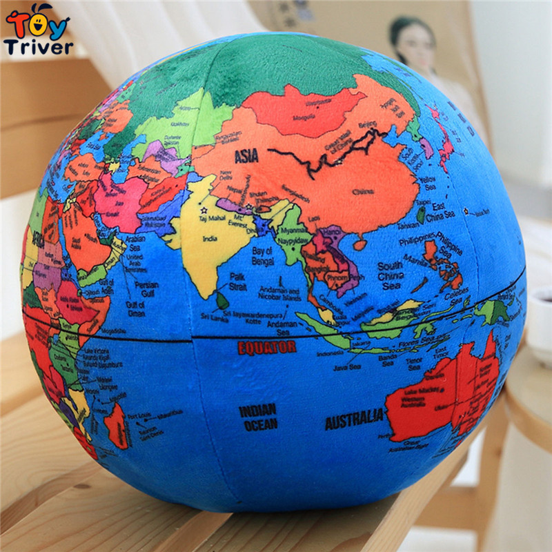 Plush World Map Globe Ball Teach Geography Toys for Kids Baby Children Educational Toys Gift Triver