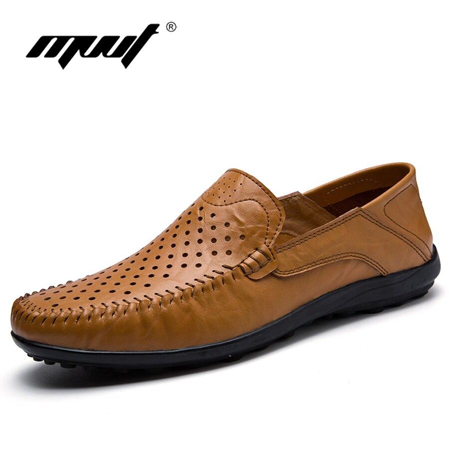 Más el tamaño de los hombres del verano zapatos de cuero suave zapatos de los ho