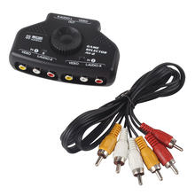 2 Way Audio Video AV RCA Switch Selector Box Splitter w/3 RCA Cable for XBox PS2 #50702(China)