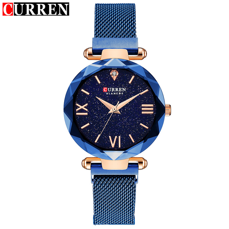 Curren Watches Women Fashion Business Blue Women Watch Ladies Stainless Steel Bracelet Woman Watch Top Brand Women's Watches