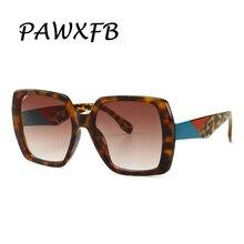 PAWXFB Big Frame Sunglasses Women Luxury Brand 2019 New Designer Gradient Square Sun Glasses Vintage leopard Eyewear