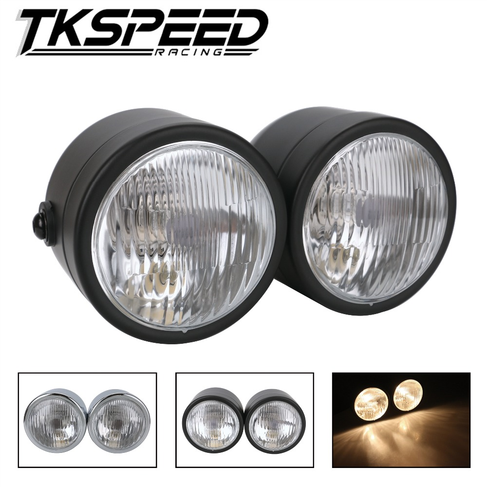 Free shipping Double Headlamp With Street Support For Sport Double Dirt Bikes Street Fighter Naked Motorcycle Coffee Pilot