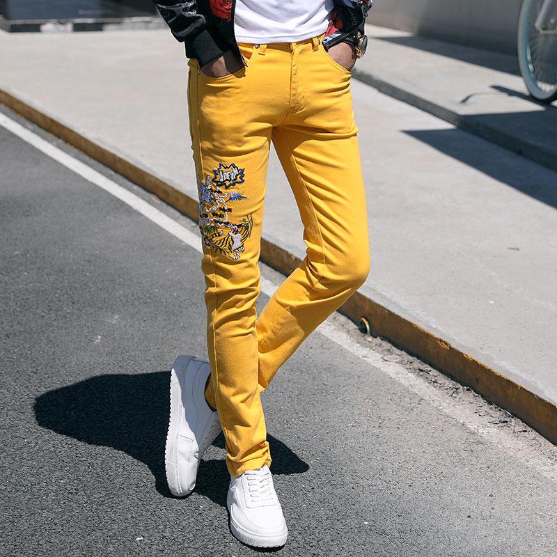Fashion Streetwear Mens Jeans Slim Fit Pink Yellow Green Color Elastic Punk Pants Hip Hop Jeans Embroidery Denim Trousers Men