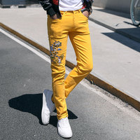 Fashion Streetwear Mens Jeans Slim Fit Pink Yellow Green Color Elastic Punk Pants Hip Hop Jeans Embroidery Denim Trousers Men