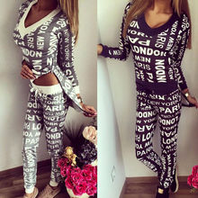 HIRIGIN Autumn 2Pcs Tracksuit Women Ladies Letter Print Hoodies Sweatshirt+Sweat Pants Sets SportWear Casual Suit OutWear Zipper