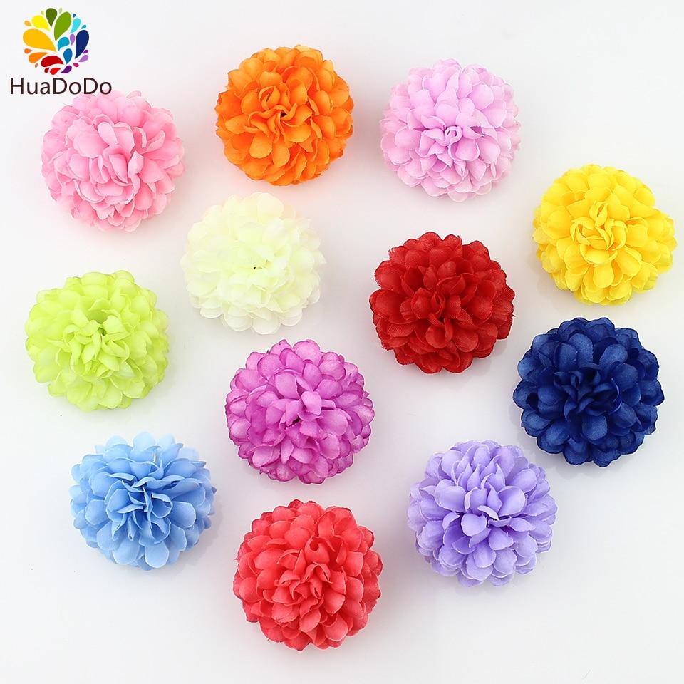 50pcs 5cm Silk Carnation Artificial Pompom Flower Head Mini