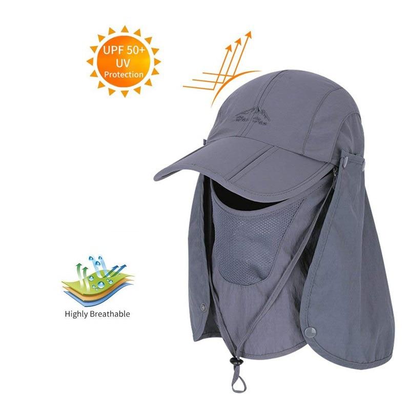 Men Women Fishing Summer Hat Removable Neck Face Flap Cap Waterproof Baseball Cap Breathable Mesh Hat Outdoor Cap Hats For Men