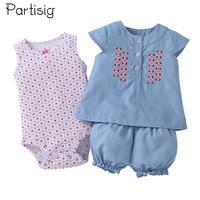 Partisig Summer Baby Girl Clothing Set Sleeveless Romper Shirt Pant 3 PCS Cotton Baby Clothes Set