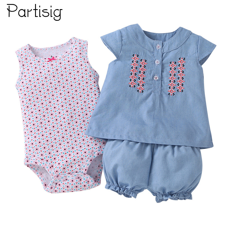 Partisig Summer Baby Girl Klær Set Ermeløs Romper Shirt Pant 3 PCS Cotton Baby Klær Set For Girls