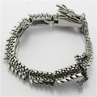 21cm 77g Wholesale Price Mens Boys Dragon Chinese Zodiac Signs New Design Unique Silver Bracelet PUNK Gothic Style New Gift